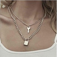 New  Chain  Key Padlock Pendant Necklace for Women Silver Lock Necklace Layered Chain on The Neck with Lock chain Punk Jewelry