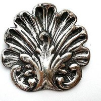 Sterling Silver Art Nouveau Shell Brooch Pin