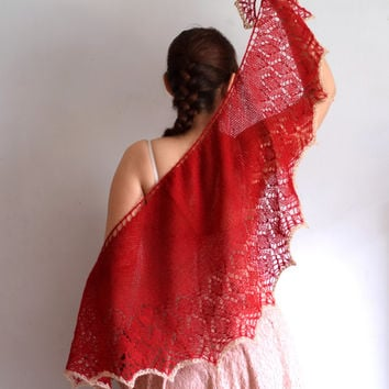 Red shawl, soft mohair shawlette, womens scarf, geometric scarf, lace shouldercover, crescent shape