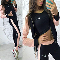 Nike Fashion Sport Cardigan Jacket Coat Pants Sweatpants Set Two-Piece Sportswear