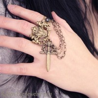 Fall On Your Sword Ring Statment Double Ring by ravenevejewelry