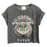Women Loose Gray Owl Pattern Crop Top with ALICE'S ADVENTURES IN WONDERLAND Letters Print