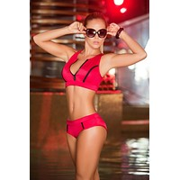 Red High Neck Zipper Front Razor Back Top & Bikini Bottom Swimwear