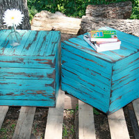 WEEKEND SALE Custom End Side Table Summer colors set of 2 salvaged barn wood stands (41 COLORS)