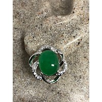 Genuine Green jade gemstone silver bronze stud earrings