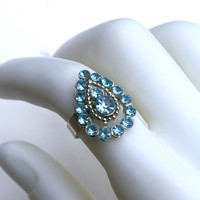 Light Blue Cocktail Ring Vintage Rhinestone Costume Ring Adjustable Silver Tone