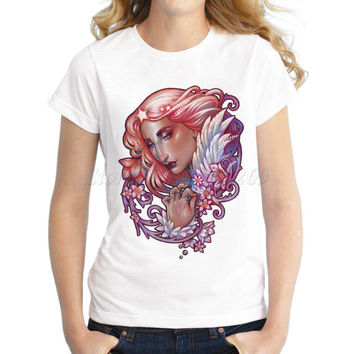 New fashion Women's creative queen of hearts printed T shirt famale retro short sleeve casual tops slim lady funny cool tee