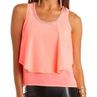 Bead & Pearl Embellished Layered Tank Top