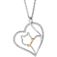 "ASPCA Tender Voices® Sterling Silver & 10kt Yellow Gold Diamond Cat Heart 18"" Necklace"