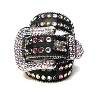 b.b. Simon Double Row Pony Swarovski Crystal Belt