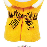 """Tubby Tiger 46041 Soft Hooded Bath Towel 24x50"""" Age 0-8 with Coloring Book"""
