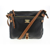 Style & Co. Womens Faux Leather Contrast Trim Crossbody Handbag