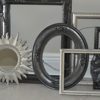 9 Ornate Metalic Gray, Silver Picture Frames Grouping - Ornate Siver, Grey Picture Frames Set - Grey Wall Decor - Modern Picture Frames