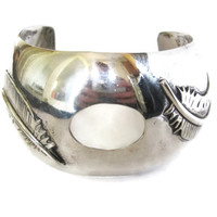 Navajo Sterling Feather Watch Cuff Bracelet