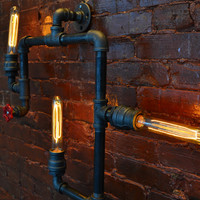 Industrial Steampunk Pipe Wall Light (Smedium)