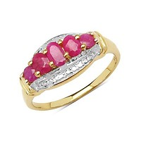 14K Yellow Gold Plated 1.13 Carat Genuine Ruby .925 Sterling Silver Ring