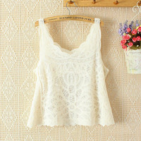 Lace Sleeveless Crop Tank Top