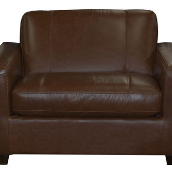 Rubicon Chair Leather Sleeper Sofa by Natuzzi Editions with Greenplus Foam Mattress in Matera Mahogany