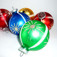 Vintage Christmas Ornaments Set of 5 West German Mercury Glass Green Red Blue Gold