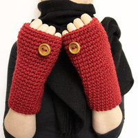 Red Fingerless Gloves, Crocheted Mittens, Hand Warmer, Fingerless Mittens, Texting Gloves, Wool Wrist Warmers, Texting Mittens, Open Gloves