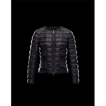 Moncler LISSY Ultralight Round Collar Black Jackets Polyamide Womens 41338938UI