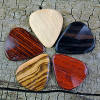 Variety Pack - Wooden Guitar Picks - Set of 5 - Multiple Options Availabe