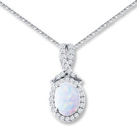 Lab-Created Opal Necklace Lab-Created Sapphire Sterling Silver