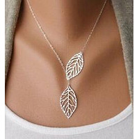 Two Leaf  Chain Pendant Necklace for Women