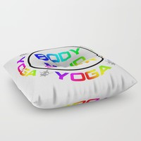 Yoga Body Mind Spirit Meditation Design Floor Pillow by inspiredimages
