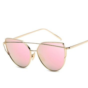 Cat Eye Aviator Sunglasses for Women,  Metal Frame,  Mirror Sunglasses