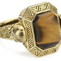 House of Harlow 1960 Engraved Skull Tigers Eye Cocktail Ring, Size 7