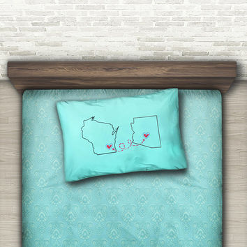 long distance relationship boyfriend gift, Custom mint pillow case for couple, Two states love, Standard case, King case