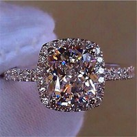 Luxury Female Girl Big Crystal CZ Stone Ring 925 Silver White Blue Purple Green Wedding Rings Promise Engagement Ring