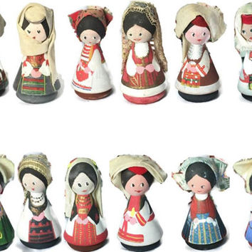 Vintage Peg Dolls, Set of 12 Stylized Miniature Dolls in Slovenian National Costumes, Souvenir Wooden Dolls