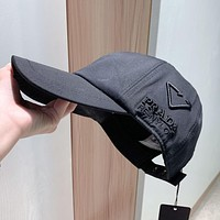 PRADA Hat Female P Home New Embroidered Inverted Triangle Baseball Cap Embroidered Sunshade Cap All-match Hat Black