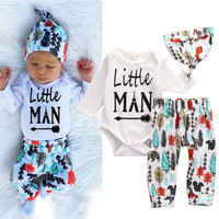 Newborn Baby Boys Girls Clothes Set Tops Romper Pants Leggings Hat Clothing Feather Autumn Outfits 3PCS Set