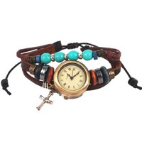 MagicPieces Handmade Leather Belt Friendship Bracelet Watch for Women -Turquoise Beads and Cross