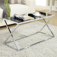 Modern Coffee Table Black Tempered Glass Tabletop Stylish Living Room Furniture