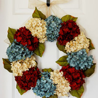 Summer Hydrangea Wreath, Front Door Wreath, Red White and Blue Wreath, Country Wreath, Americana