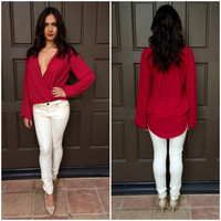 Wrapped in Love Blouse - Red