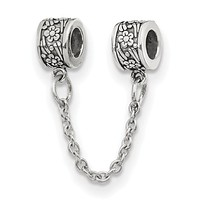 Sterling Silver Security Chain with Flower Bead Charms