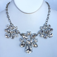 Love Crystal Bib Necklace Set - Silver