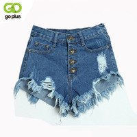 GOPLUS 2017 Summer Women Candy Color Hole Denim Shorts High Waist Solid Casual Jeans Shorts Vintage Cotton Short Pants Plus Size