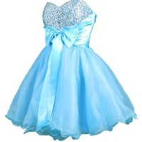 Faironly Mini Short Dress for Cocktail or Homecoming Prom (XS, Turquoise)