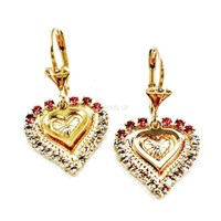 Cz Pink and White Double Hearts 18Kts Gold Plated Earrings
