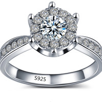 Luxury Silver Plated Jewelry Romantic wedding rings for women cubic zirconia diamond fashion bague