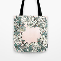 Little bird- merry in the blossoming Tote Bag by anipani