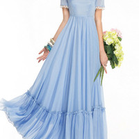 Blue Contrast Lace Lining Maxi Dress