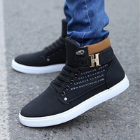 Mr.Choc Mens Shoes New Arrival Retro Style Casual High Top Sneakers Canvas Shoes [8822144579]