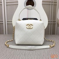8186A Fashion Casual Lrage-Capacity Quilted Bag Chain Shoulder Handbag 20-17-11cm White